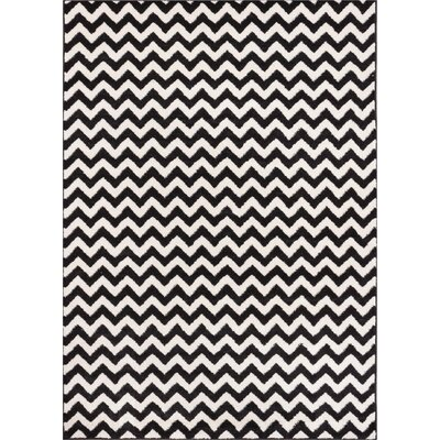 Dax Chevron Black/White Area Rug Rug Size: 710 x 106