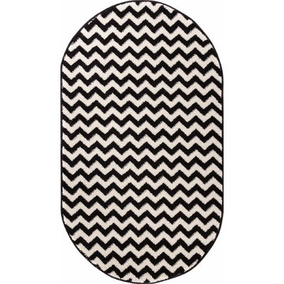 Burgess Chevron Black/White Area Rug Rug Size: Oval 27 x 42