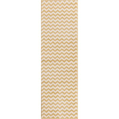 Dax Chevron Gold/White Area Rug Rug Size: Runner 23 x 73