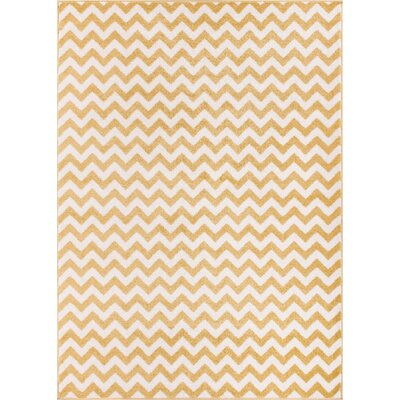 Dax Chevron Gold/White Area Rug Rug Size: 23 x 311