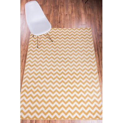 Burgess Chevron Gold/White Area Rug Rug Size: Rectangle 23 x 311