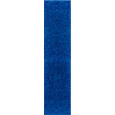 Reynolds Plain Solid Dark Blue Area Rug Rug Size: Runner 18 x 72