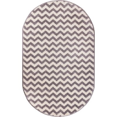 Burgess Chevron Light Gray/White Area Rug Rug Size: Oval 27 x 42