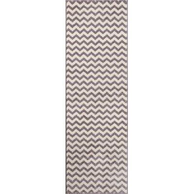 Dax Chevron Light Gray/White Area Rug Rug Size: Runner 23 x 73