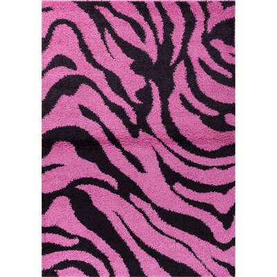 Reynolds Zebra Animal Print Fuchsia/Black Area Rug Rug Size: 5 x 72