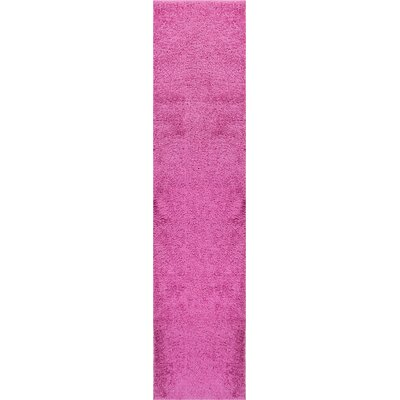 Reynolds Plain Solid Fuchsia Area Rug Rug Size: Runner 18 x 72