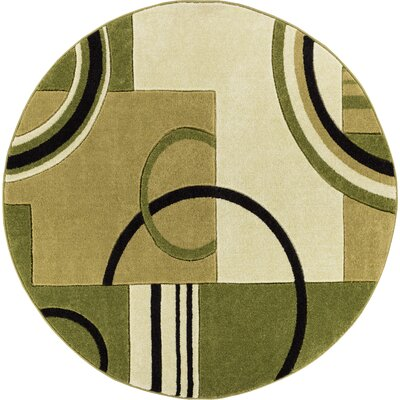 Dawson Galaxy Waves Green Area Rug Rug Size: Round 53