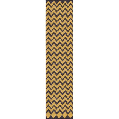 Reynolds Chevron Gold/Yellow Area Rug Rug Size: Runner 18 x 72