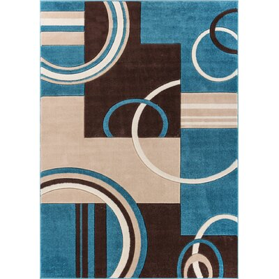 Dawson Galaxy Waves Blue Area Rug Rug Size: 311 x 53