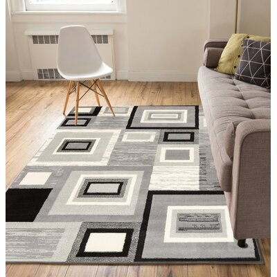 Ayala Gray/Cream Area Rug Rug Size: 93 x 126