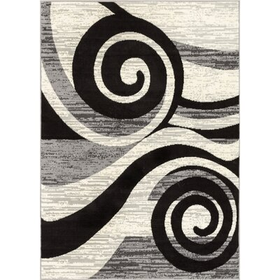 Ayala Gray/Black Area Rug Rug Size: Rectangle 82 x 910