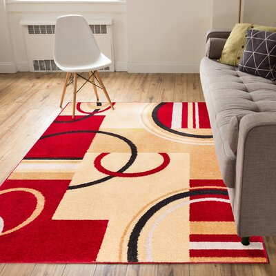 Darrius Boombastic Red/Beige Area Rug Rug Size: 5 x 7