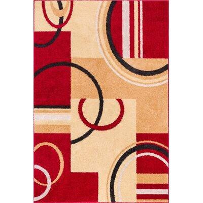 Oliver Red/Beige Area Rug Rug Size: 710 x 910