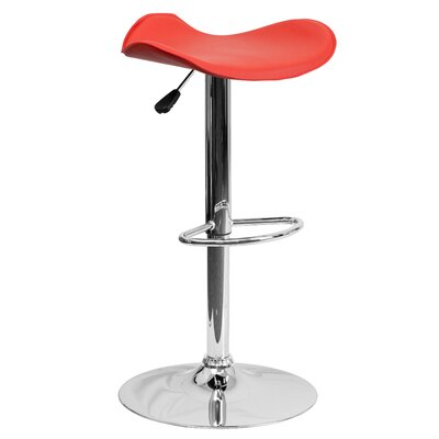 Andrew Adjustable Height Swivel Bar Stool Upholstery: Red