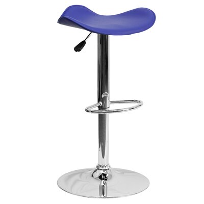 Andrew Adjustable Height Swivel Bar Stool Upholstery: Blue