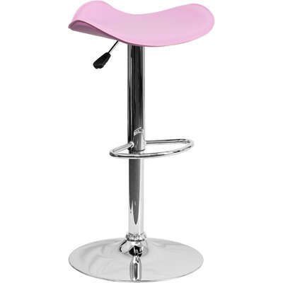 Andrew Adjustable Height Swivel Bar Stool Upholstery: Pink