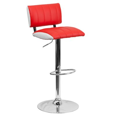 Andrew Adjustable Height Swivel Bar Stool (Set of 2) Upholstery: Red / White