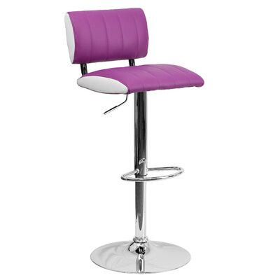 Andrew Adjustable Height Swivel Bar Stool (Set of 2) Upholstery: Purple / White