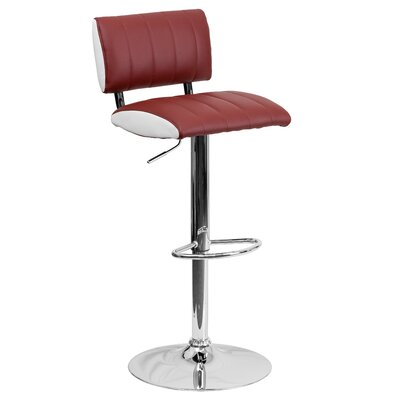 Andrew Adjustable Height Swivel Bar Stool (Set of 2) Upholstery: Burgundy / White