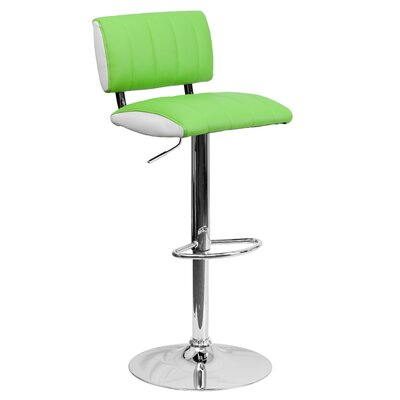 Andrew Adjustable Height Swivel Bar Stool (Set of 2) Upholstery: Green / White
