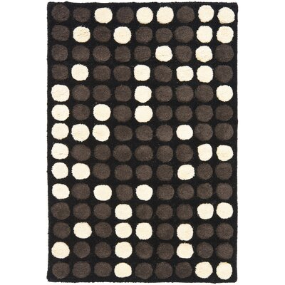 Freda Hand-Tufted Black/White Area Rug Rug Size: 36 x 56
