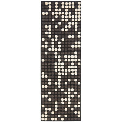 Freda Hand-Tufted Black/White Area Rug Rug Size: Runner 26 x 12