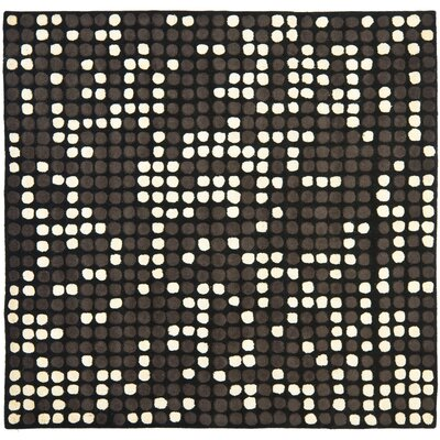 Freda Hand-Tufted Black/White Area Rug Rug Size: Square 6