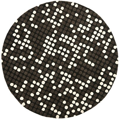 Freda Hand-Tufted Black/White Area Rug Rug Size: Round 6