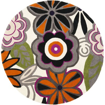 Chidi Floral Area Rug Rug Size: Round 6