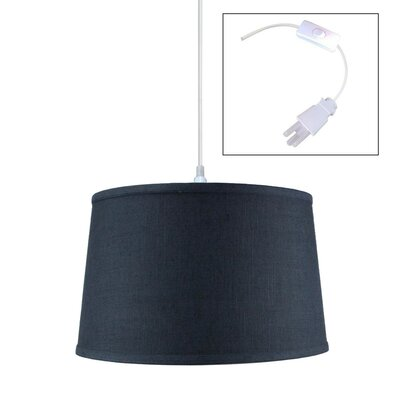 Dov 1-Light Drum Pendant Shade Color: Slate Blue, Size: 10 H x 16 W x 14 D