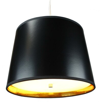 Dov 2-Light Drum Pendant Shade Color: Black Gold, Size: 10 H x 14 W x 12 D