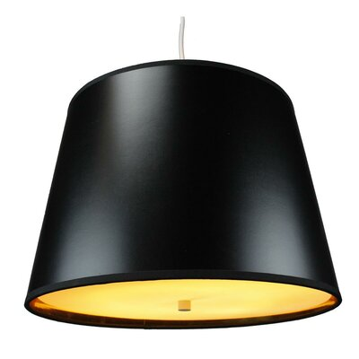 Anthony 2-Light Drum Pendant Shade Color: Black Gold, Size: 11 H x 16 W x 13 D