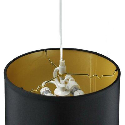 Dov 2-Light Drum Pendant Shade Color: Black Shantung Gold, Size: 11 H x 16 W x 13 D