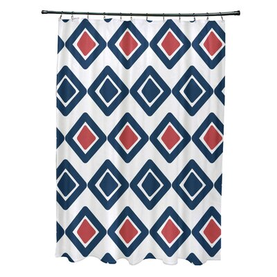 Doretta Diamond Shower Curtain Color: Navy Blue