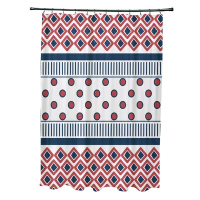 Doretta Scrambled Shower Curtain Color: Coral