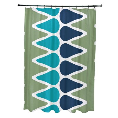 Doretta Picks Shower Curtain Color: Green/Light Blue/Navy Blue