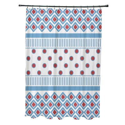 Doretta Scrambled Shower Curtain Color: Light Blue
