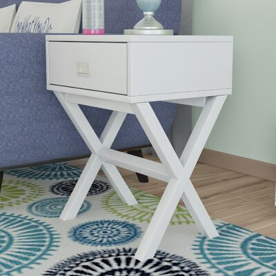 Kathleen End Table With Storage Color: White