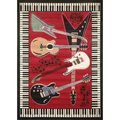 Mitt Music Novelty Rust Area Rug Rug Size: 52 x 74