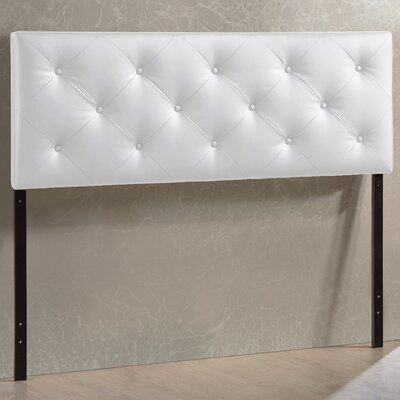 Orlando Faux Leather Panel Headboard Upholstery: White, Size: King