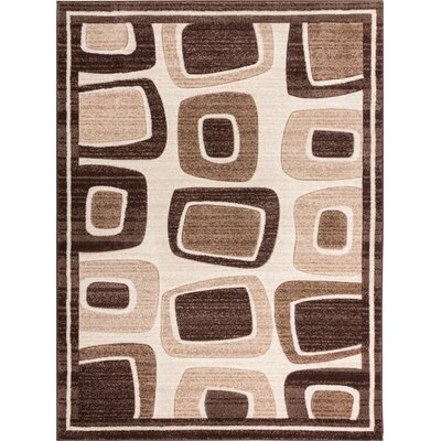 Herring Radical Squares Brown Area Rug Rug Size: 53 x 73