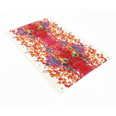 Shuman Red Area Rug Rug Size: 33 x 53