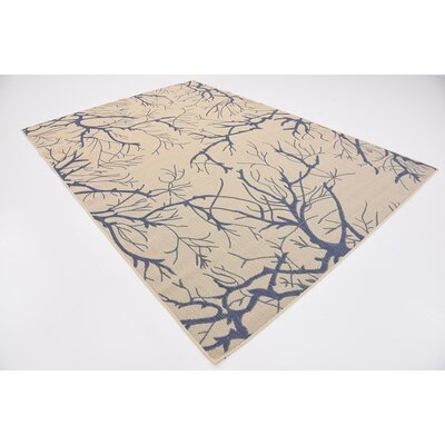 Korbin Beige/Blue Outdoor Area Rug Rug Size: Rectangle 7 x 10