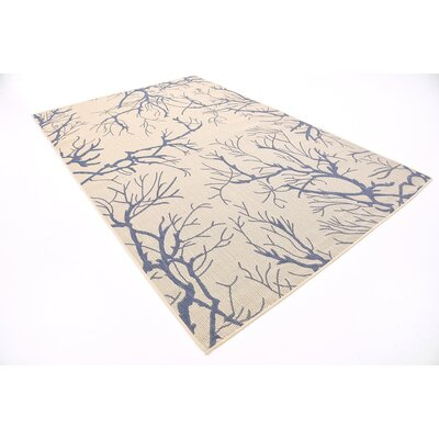 Calderon Beige/Blue Outdoor Area Rug Rug Size: Rectangle 6 x 9