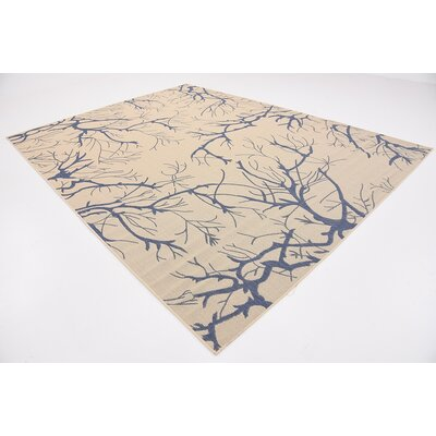Korbin Beige/Blue Outdoor Area Rug Rug Size: Rectangle 9 x 12