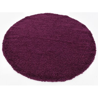 Purple Area Rug Rug Size: Round 6