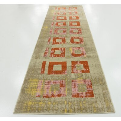 Tommy Orange Area Rug Rug Size: Runner 3 x 10
