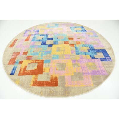 Timothy Purple Area Rug Rug Size: Round 8