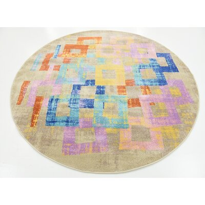 Timothy Purple Area Rug Rug Size: Round 6