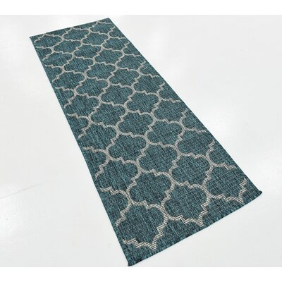 Enola Teal Outdoor Area Rug Rug Size: Runner 2 x 6